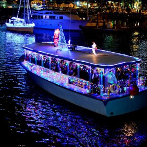 photo of boat decorated for Christmas Parade